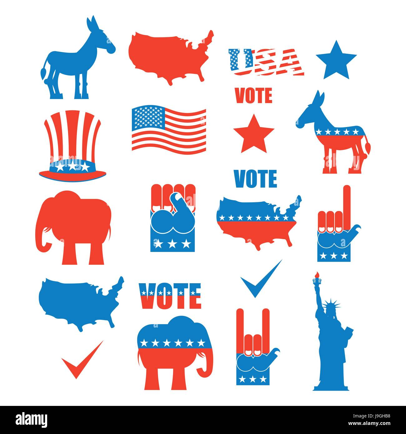 American Elections Icon Set Republican Elephant And Democratic