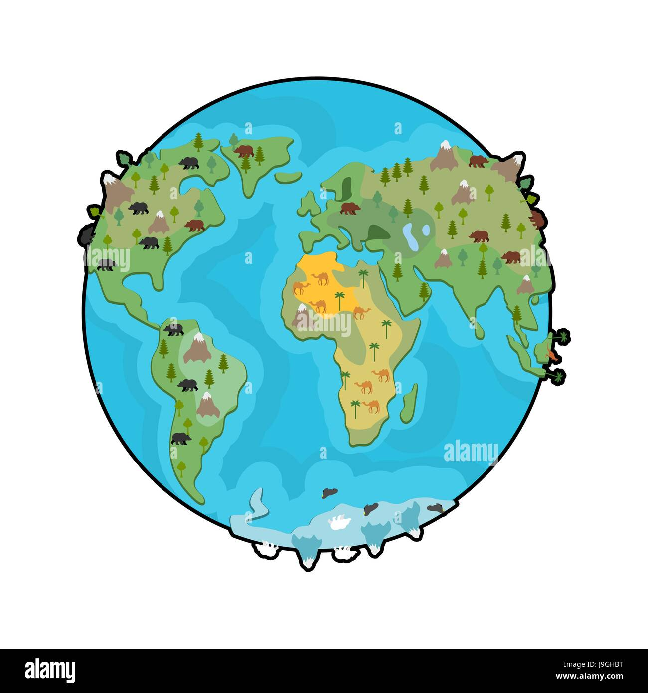 Planet earth and animals beast on continents world map stock planet earth and animals beast on continents world map geographical globe with wildlife gumiabroncs Gallery