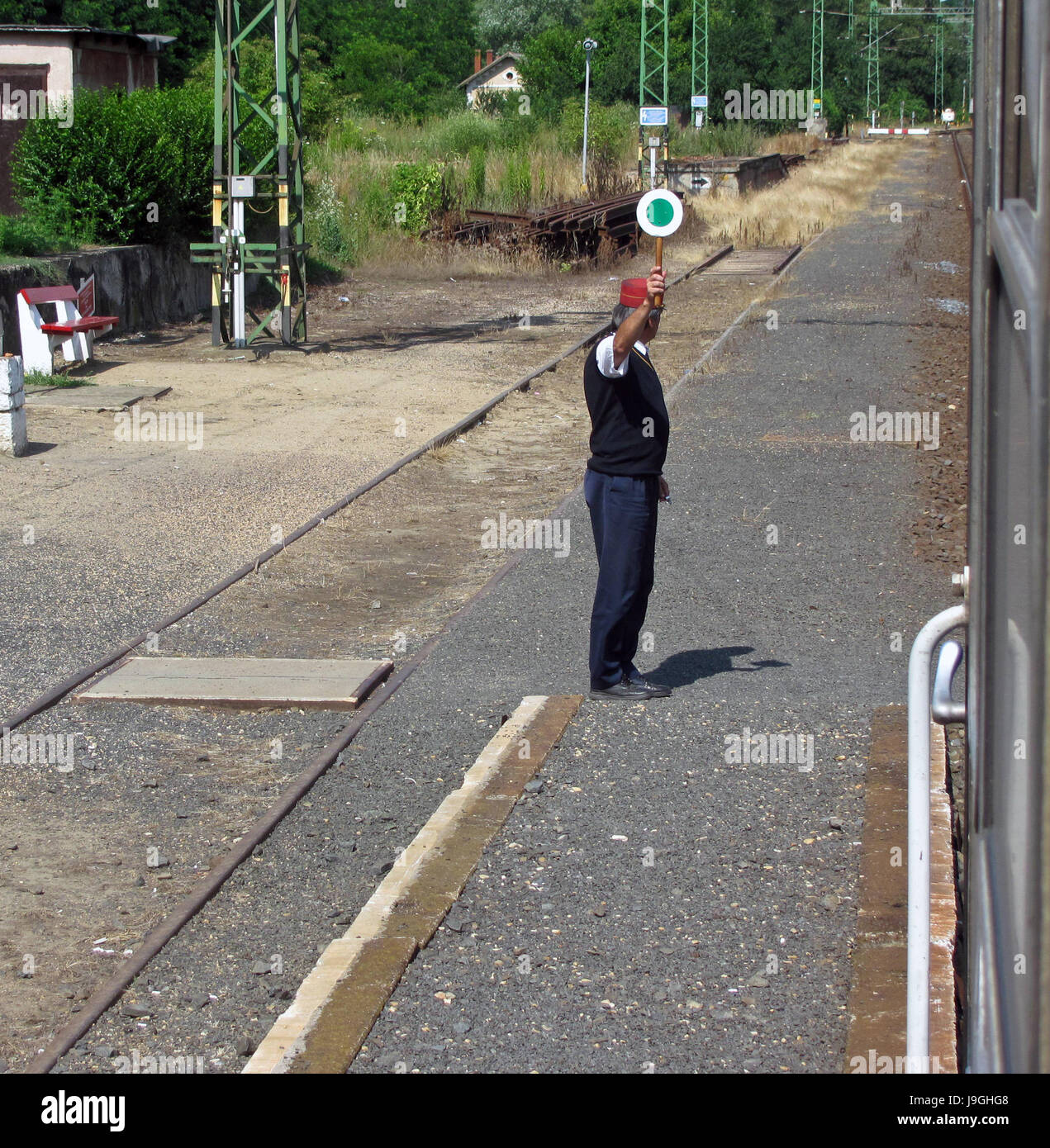 Train station staff. The train is ready to depart - Stock Image