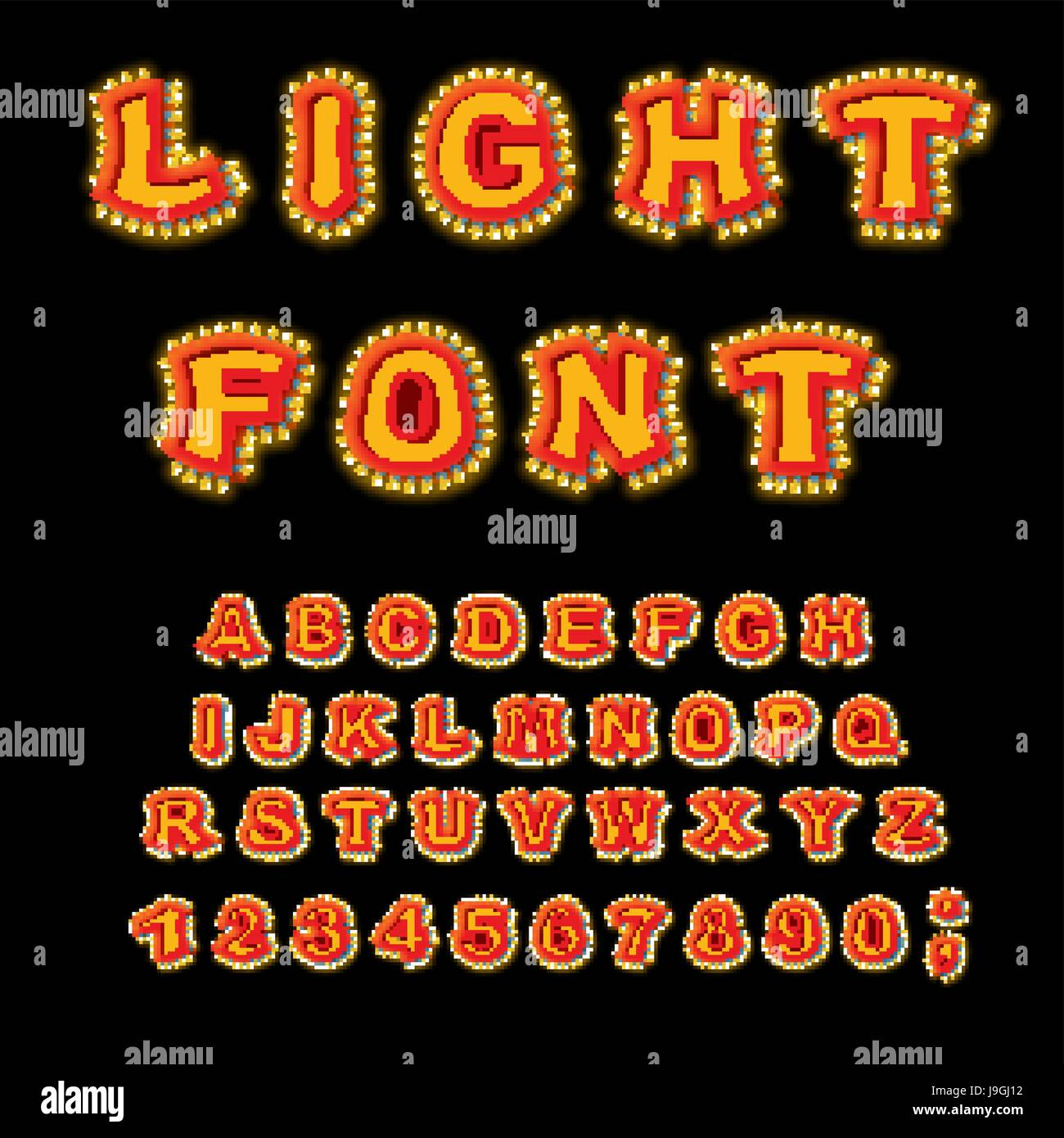 Light font. Retro Alphabet with lamps. Glowing letters. ABC pointer with shine bulb. Vintage Glittering lights lettering Stock Vector