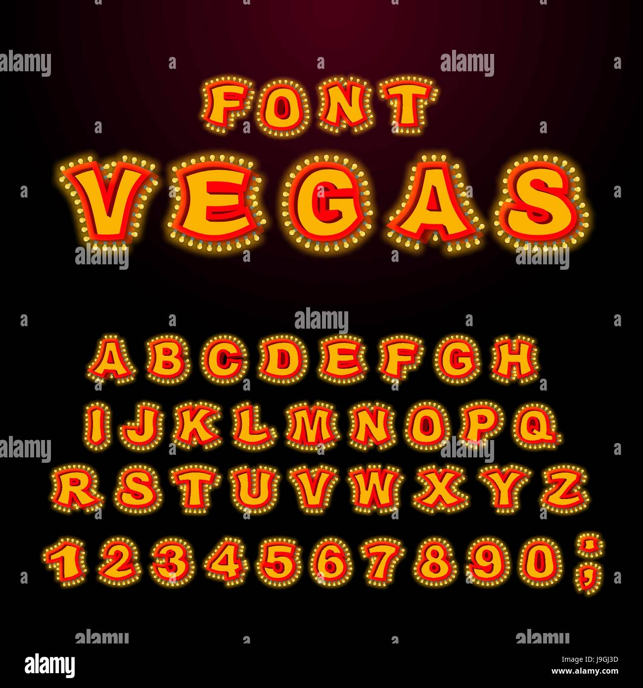 Vegas font. Glowing lamp letters. Retro Alphabet with lamps. Vintage show ABC with light bulb. Glittering lights Stock Vector