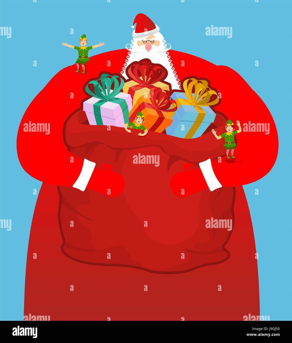 b83ef8392e68b Santa with big bag of gifts. Red sack with toys and sweets. Christmas elf
