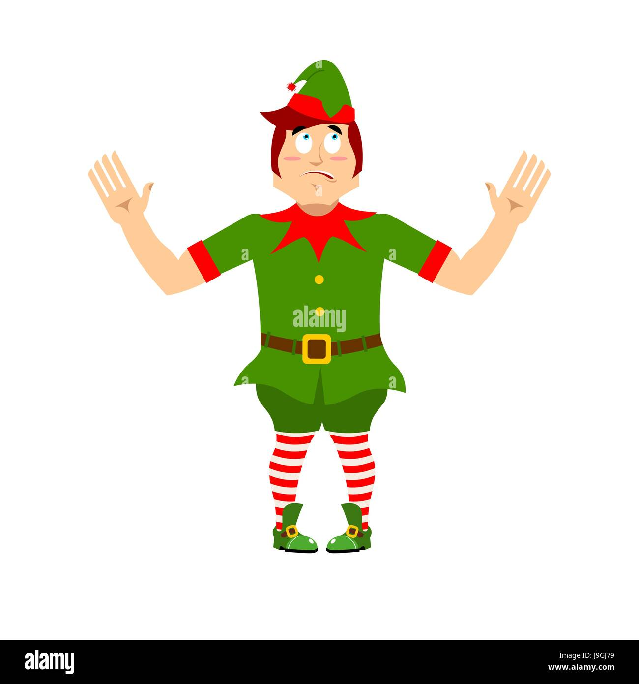 Surprised Christmas elf raised his hands to sides. Discouraged Stock ...