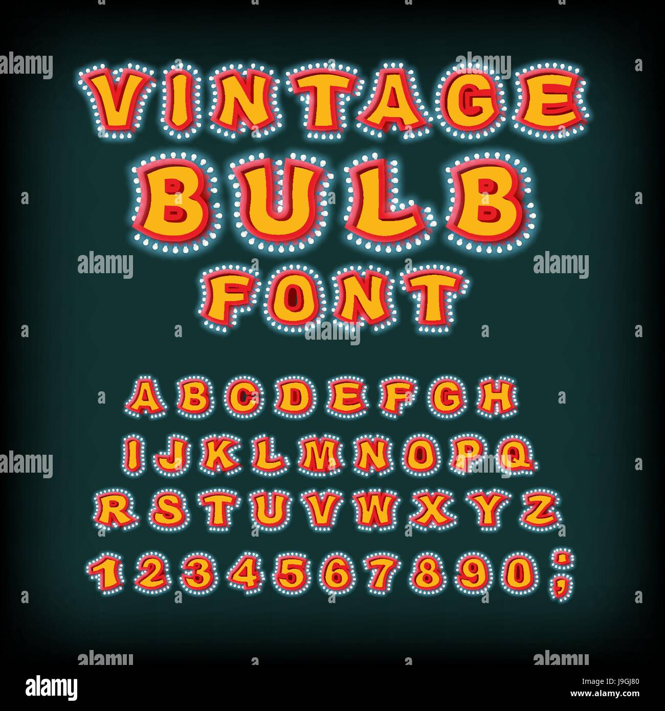 Vintage bulb font. Glowing letters. Retro Alphabet with lamps. Glittering lights pointer lettering Stock Vector