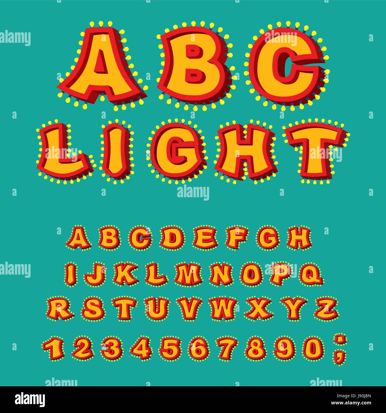 Light ABC. Retro Alphabet with lamps. Glowing letters. font pointer with shine bulb. Vintage Glittering lights lettering Stock Vector