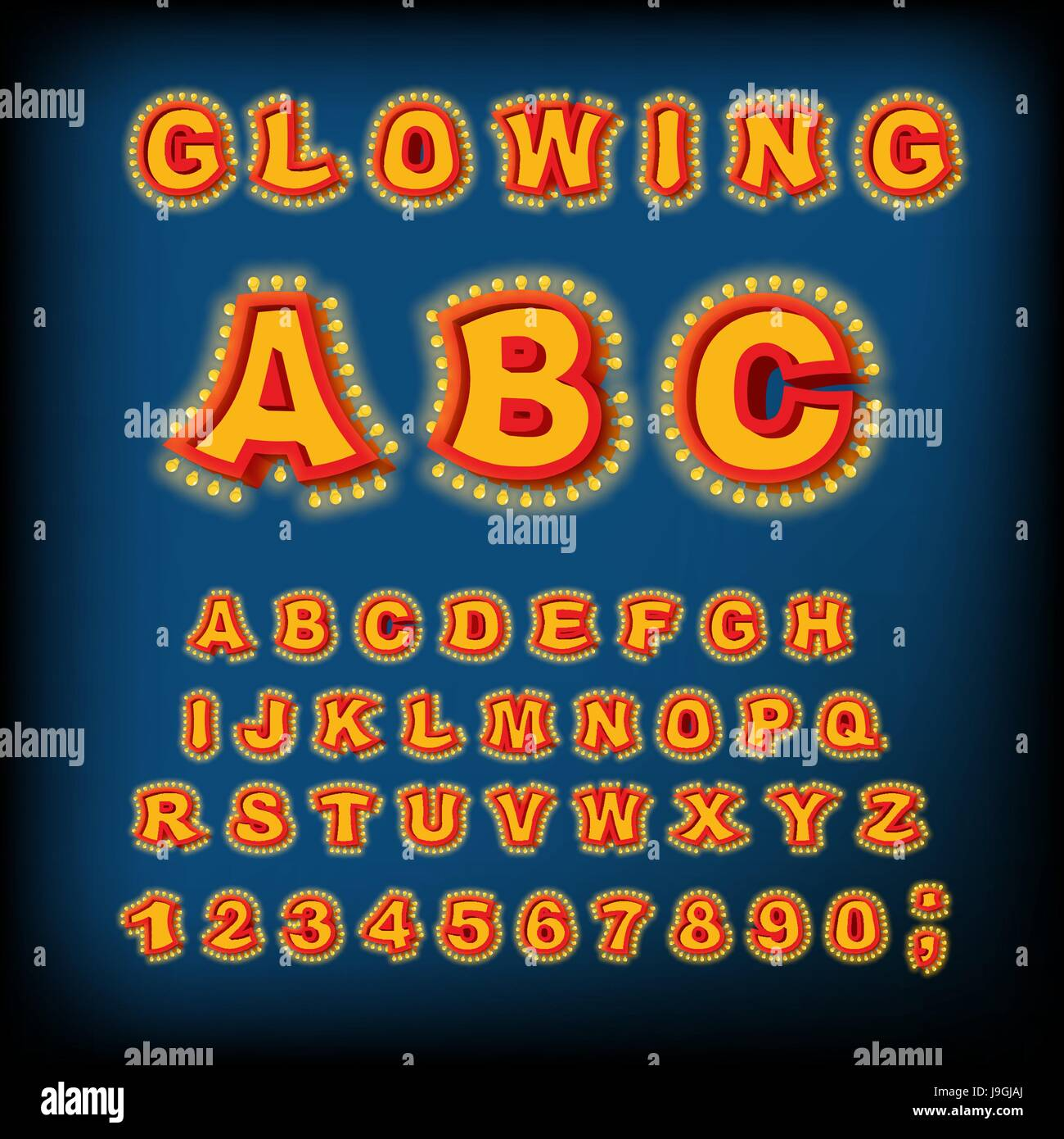 Glowing ABC. Light font. Retro Alphabet with lamps. font pointer with light bulb. Vintage Glittering lights lettering Stock Vector