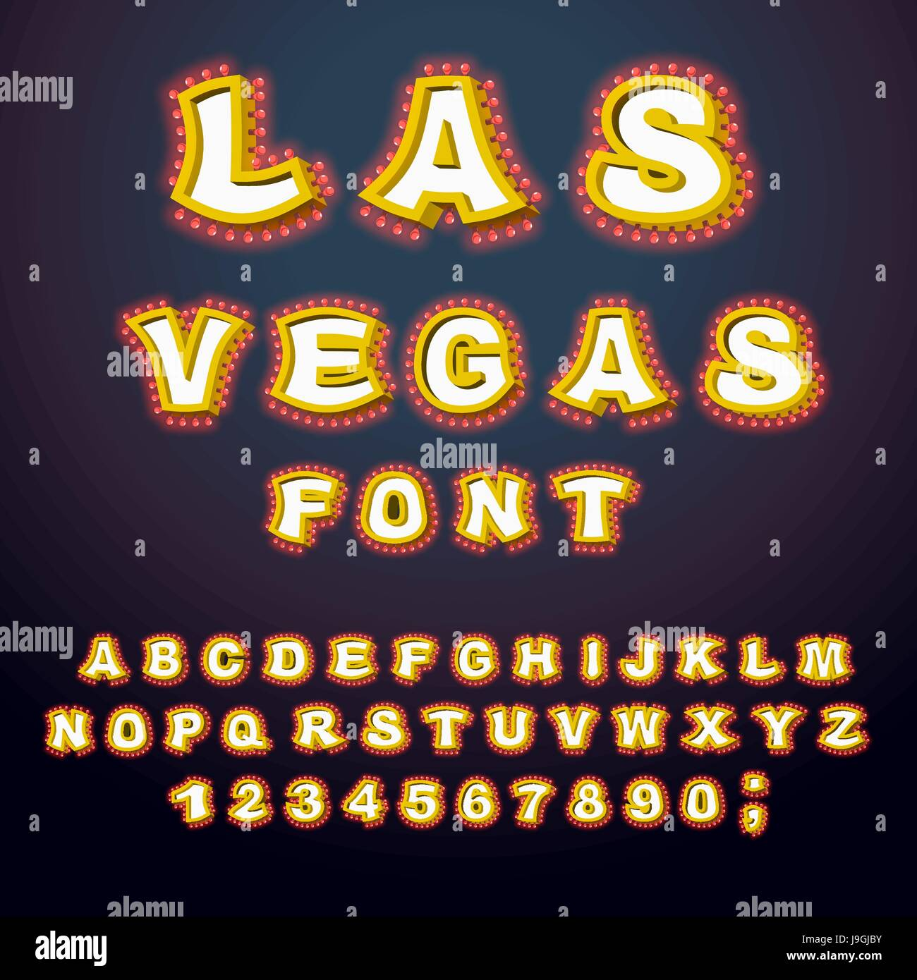 Las Vegas Font Glowing Lamp Letters Retro Alphabet With Lamps Vintage Show ABC Light Bulb Glittering Lights Lettering