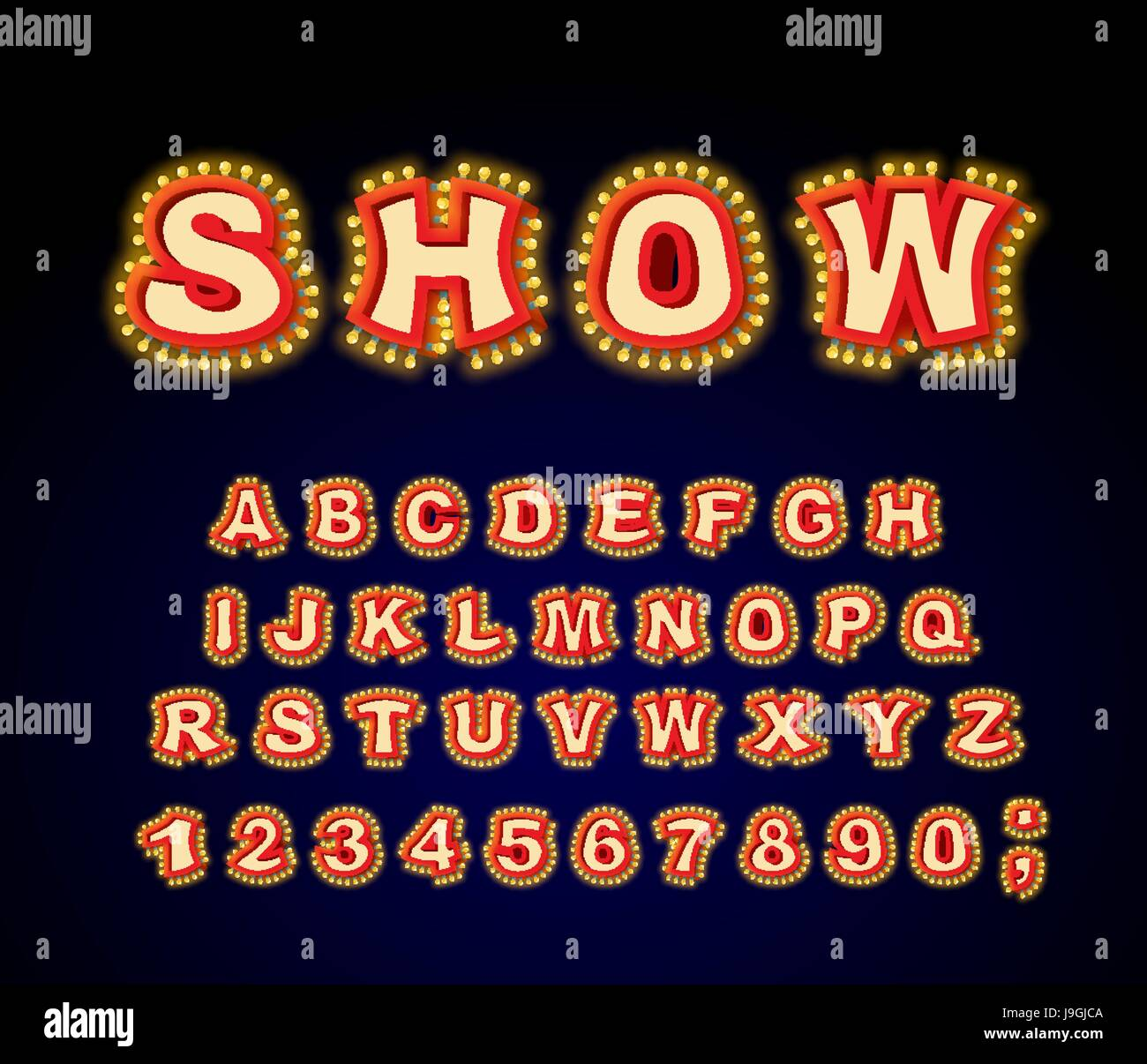 Show font. Glowing lamp letters. Retro Alphabet with lamps. Vintage ABC with light bulb. Glittering lights lettering Stock Vector