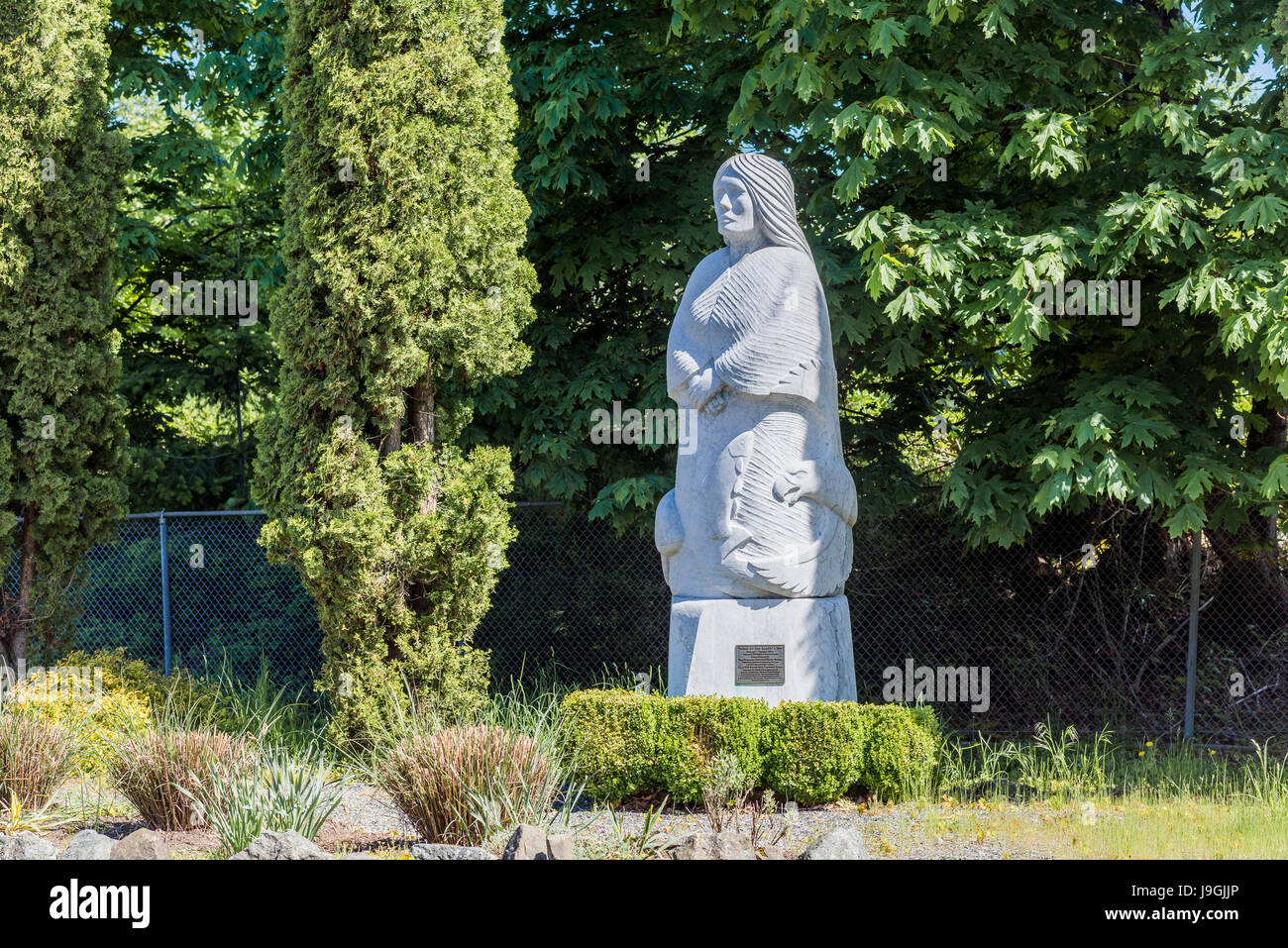 Marble sculpture by Daniel J Cline, Chemainus, Vancouver Island, British Columbia, Canada Stock Photo