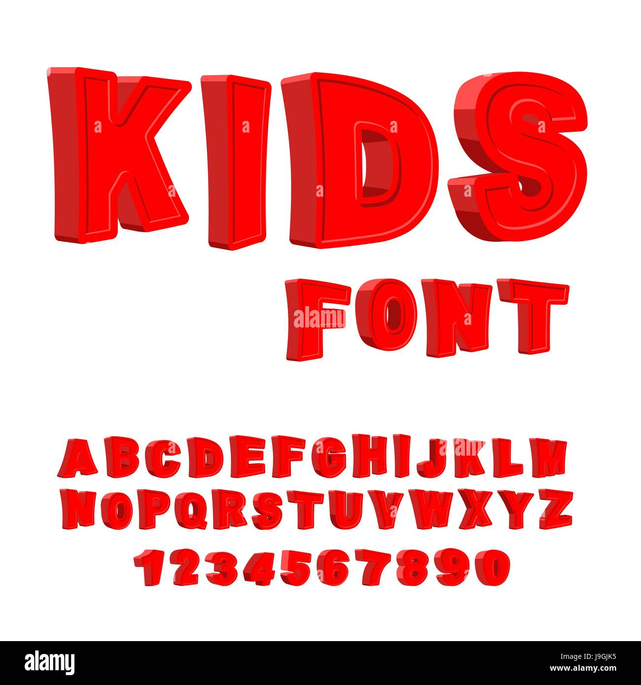 Kids Font 3d Letters Alphabet For Children Red Funny Abc For