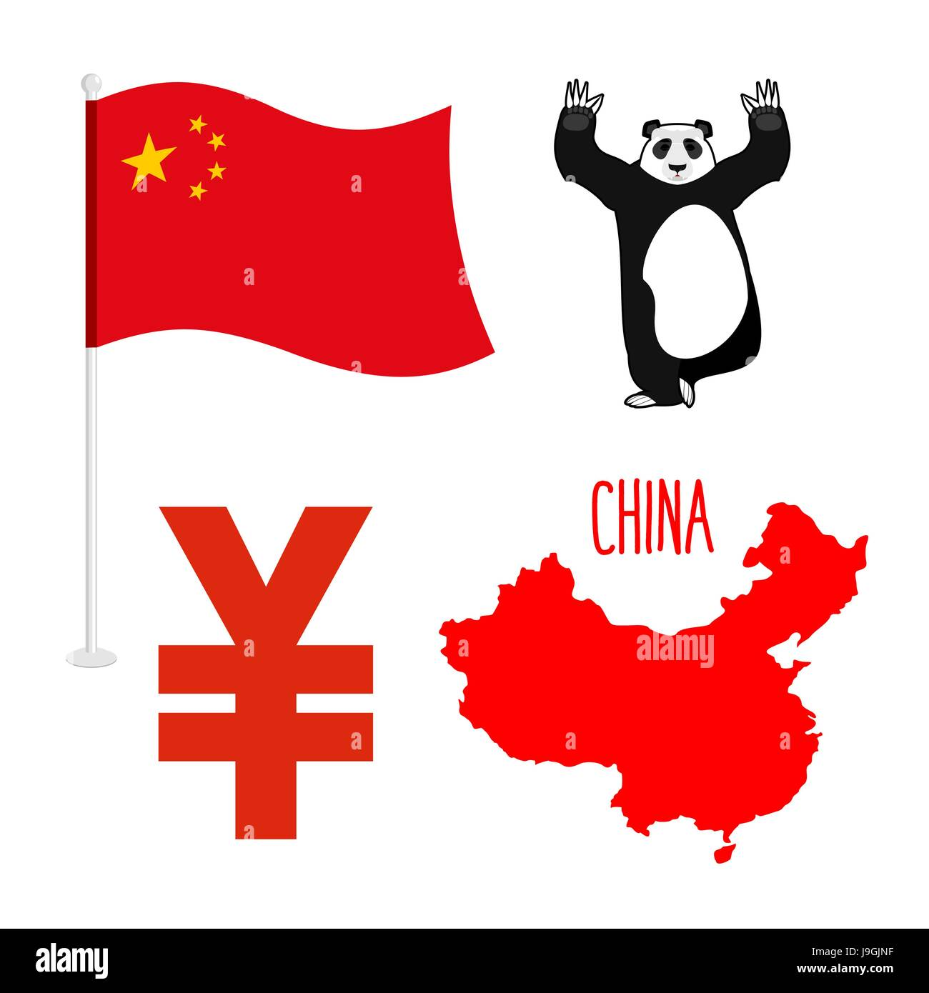 China Symbol Icons Set Map And Flag Of Country Sign Of National