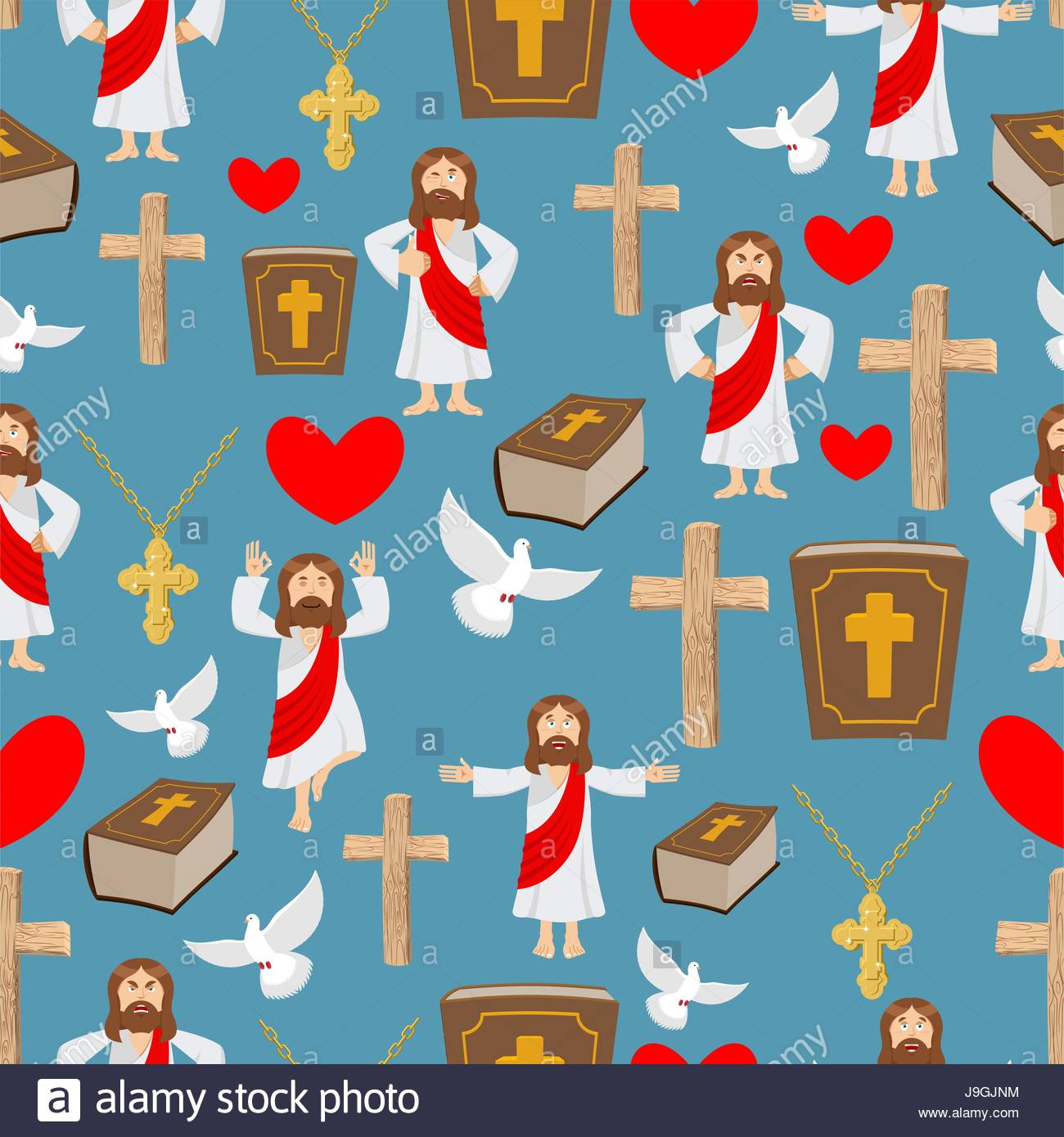 Biblical Seamless Pattern Jesus And Bible Cross And White Dove