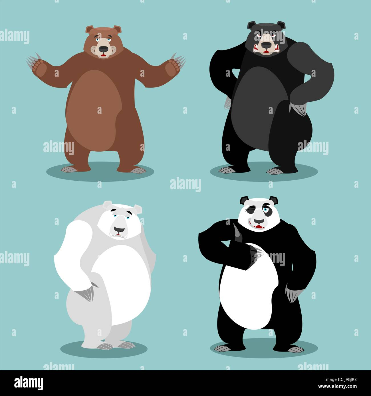 bears set Breed. Grizzly and panda. American black bear baribal. Polar. Different poses wild animal. Carnivorous Stock Vector