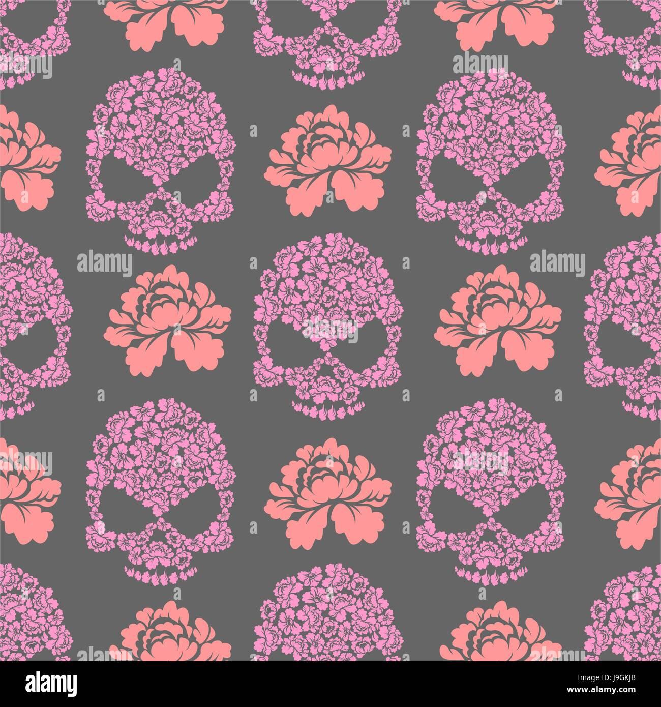 Flower skull seamless pttern skull of pink flowers and roses stock flower skull seamless pttern skull of pink flowers and roses ornament beautiful flora texture mightylinksfo