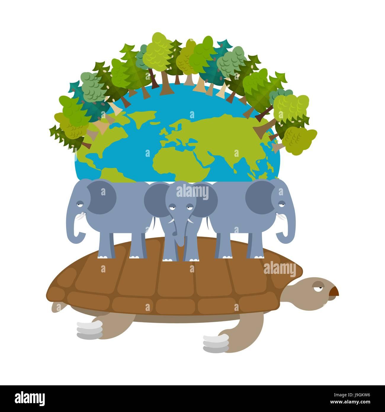 Mythological Planet Earth Turtle Carrying Elephants Ancient Representation Of World