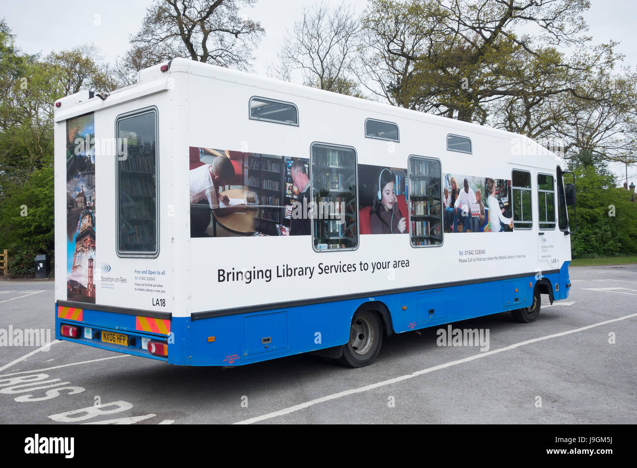 Mobile library service operated by local council authorities. UK Stock Photo