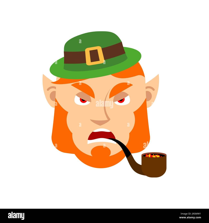7427ceedc9219 Dwarf with red beard aggressive Emoji. Irish elf emotions. St.Patrick  s  Day. Holiday in Ireland