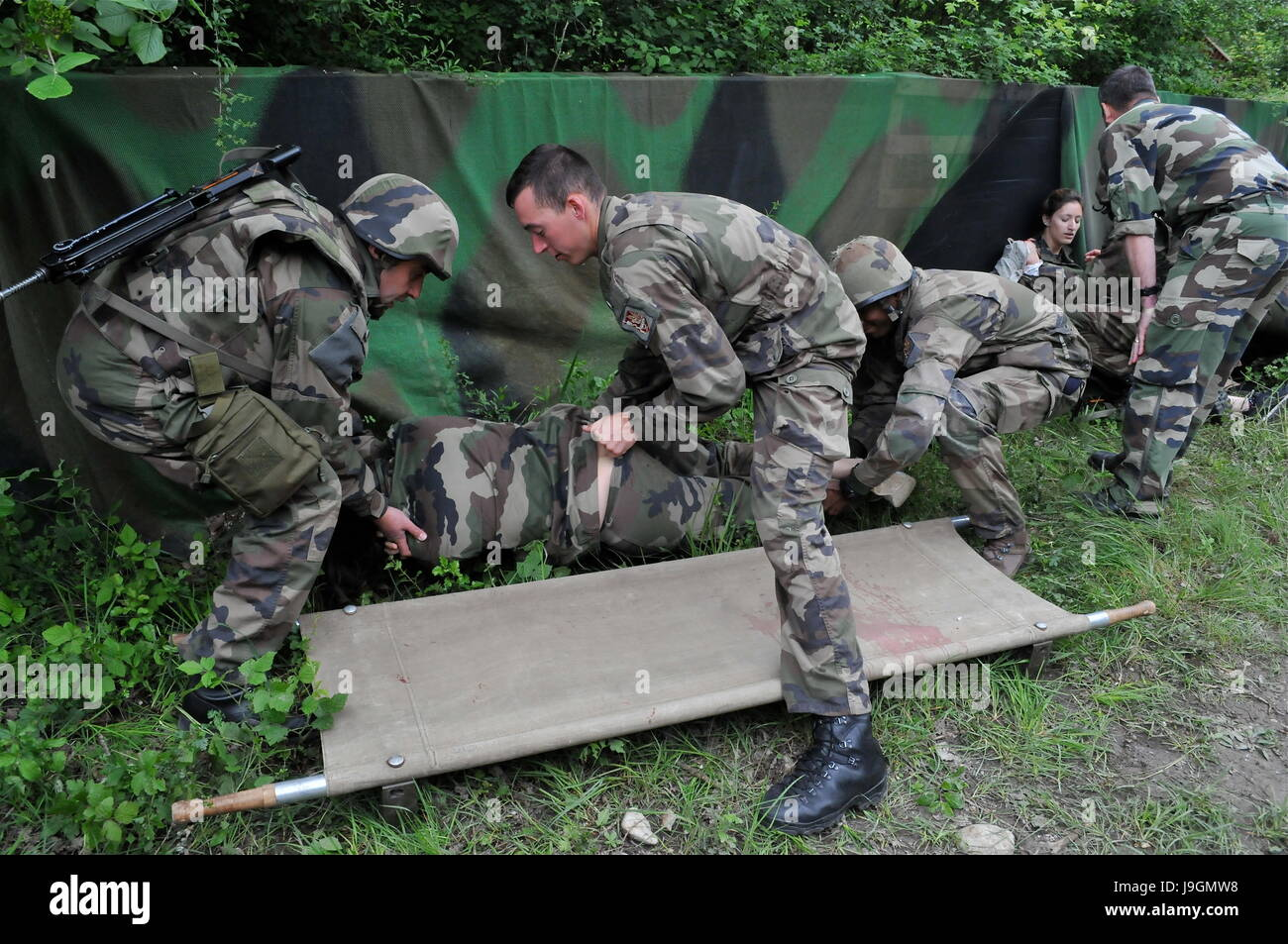 Realistic emergency drill for French Reservist Medical Personnels in La Valbonne Stock Photo