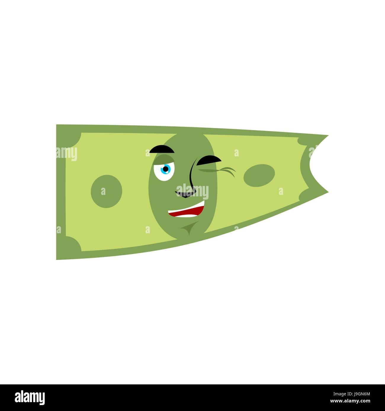 Cash Emoji Cheerful Dollar Isolated Stock Vector