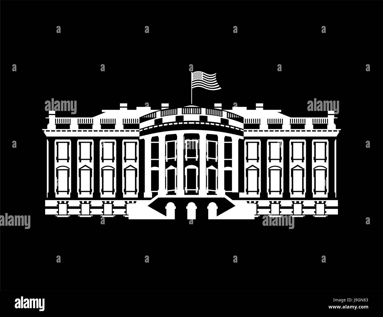 US White House sign icon. America government building. mansion President. USA political landmark - Stock Vector