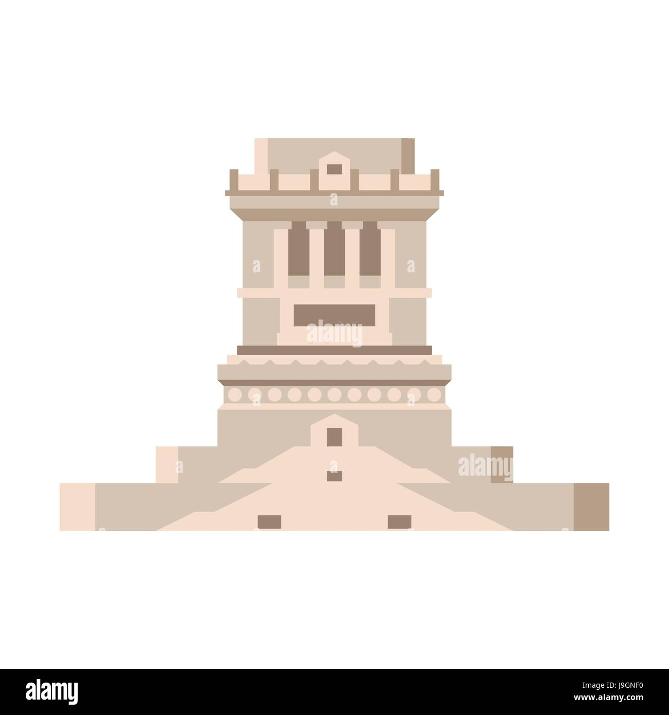 Pedestal of statue of liberty empty isolated. stand on Liberty Island Stock Vector
