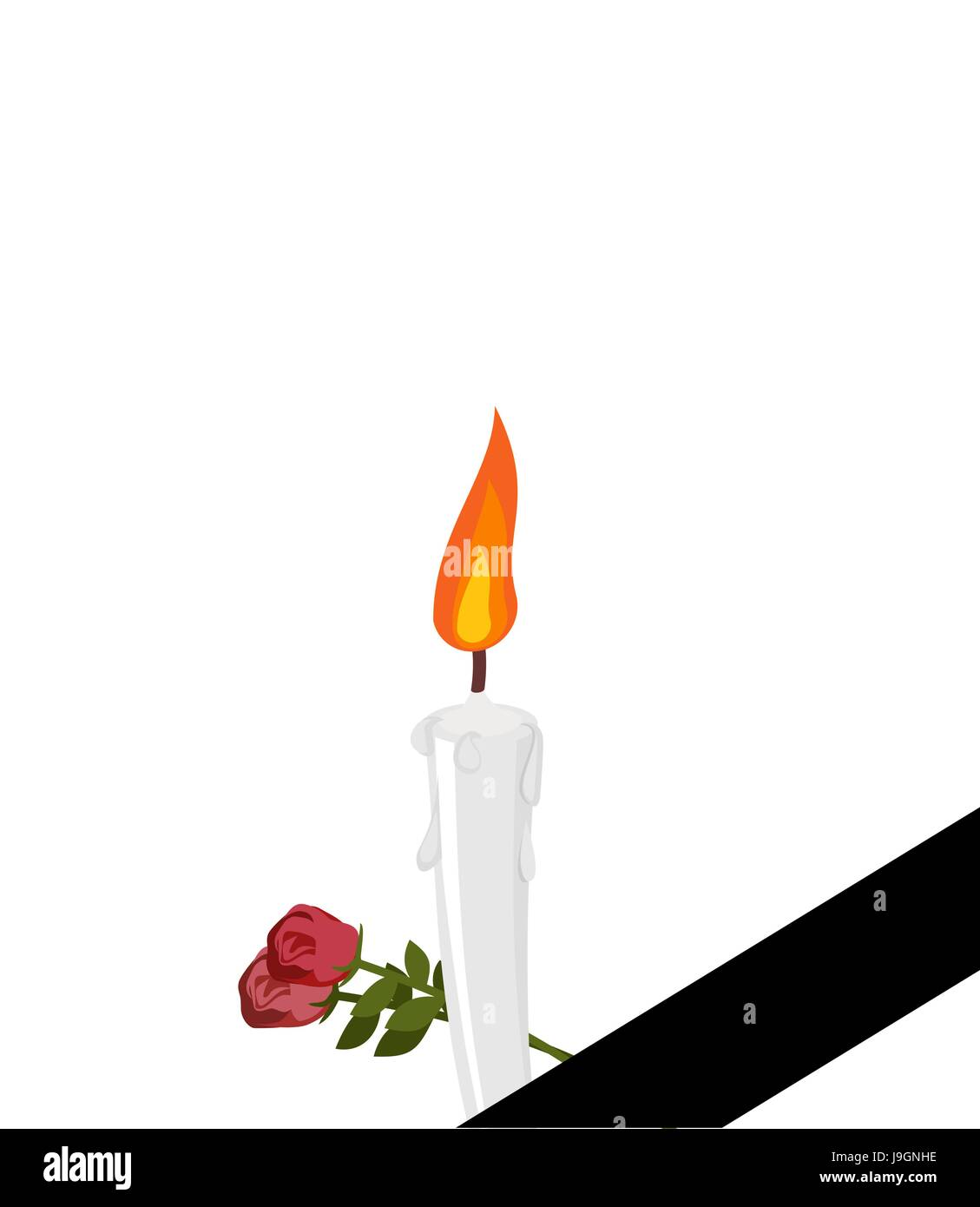 Greatest Mourning frame Black ribbon. Candles and flowers isolated Stock  JS53