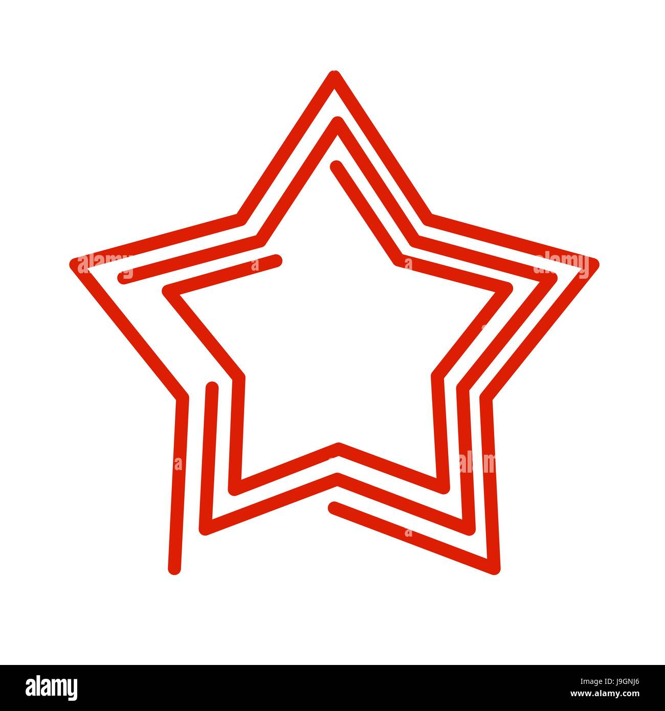 Star line style. Red Abstract sign on white background - Stock Image
