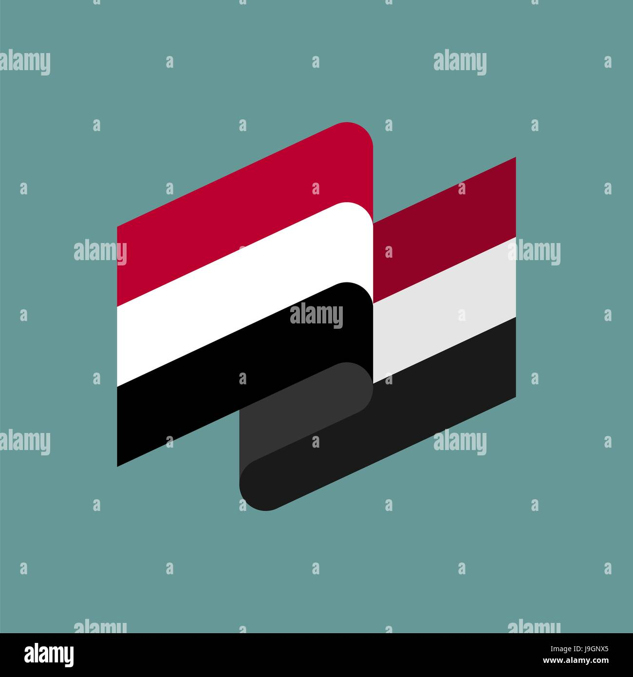 Yemen flag ribbon isolated. Yemeni tape banner. National symbol of ountrys public - Stock Vector