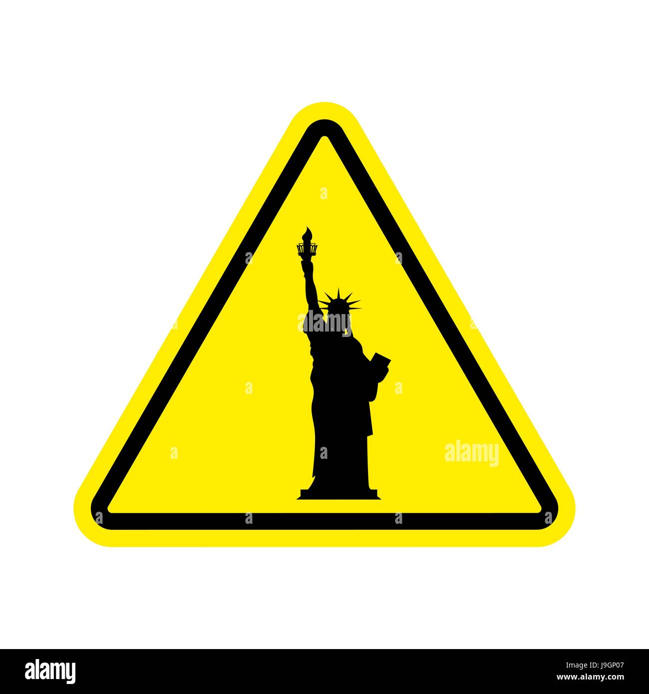 Attention America Statue Of Liberty On Yellow Triangle Road Sign