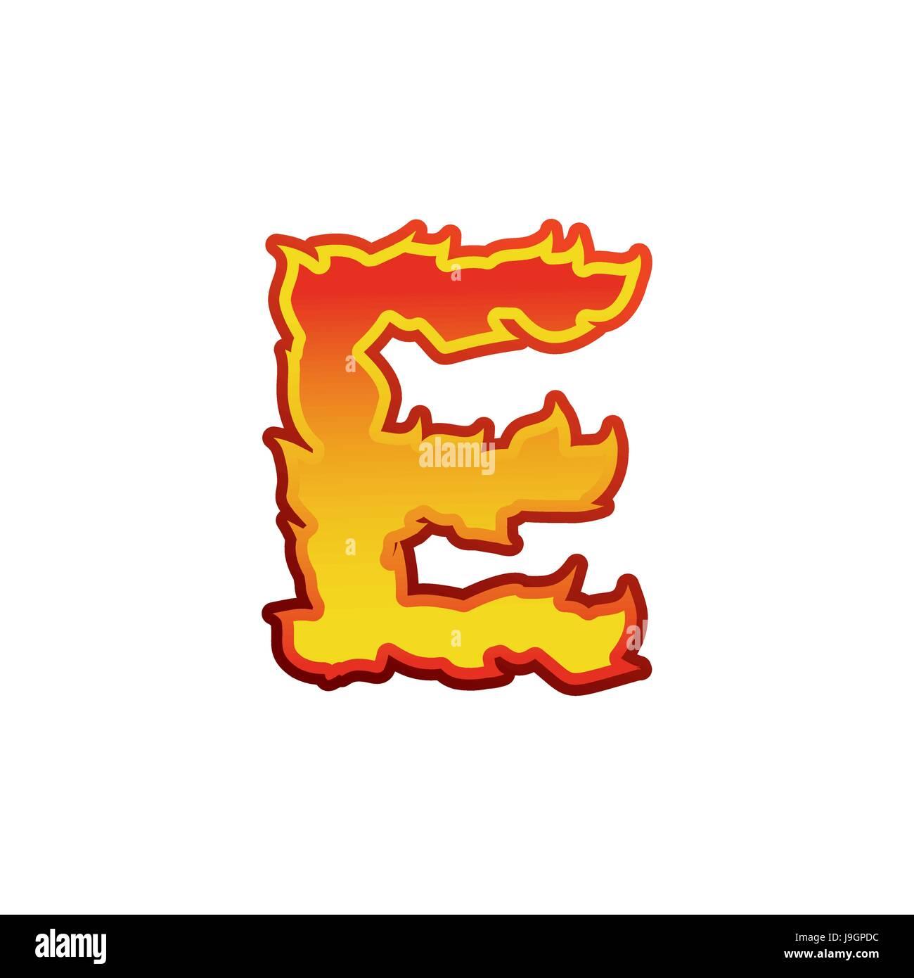 60bd792a04f2 Letter E fire. Flames font lettering. Tattoo alphabet character. fiery sign  alphabet