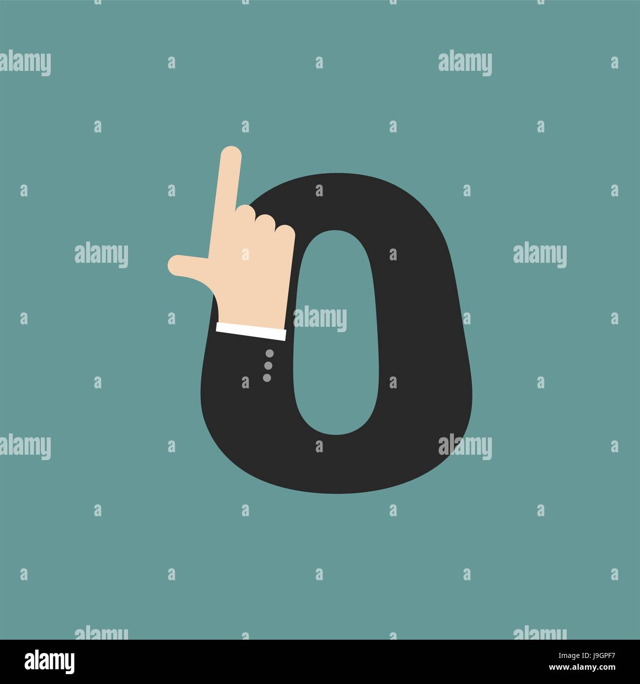 number 0 letter businessman hand font. It shows finger print. Arm symbol zero alphabet. Sign of ABC - Stock Vector