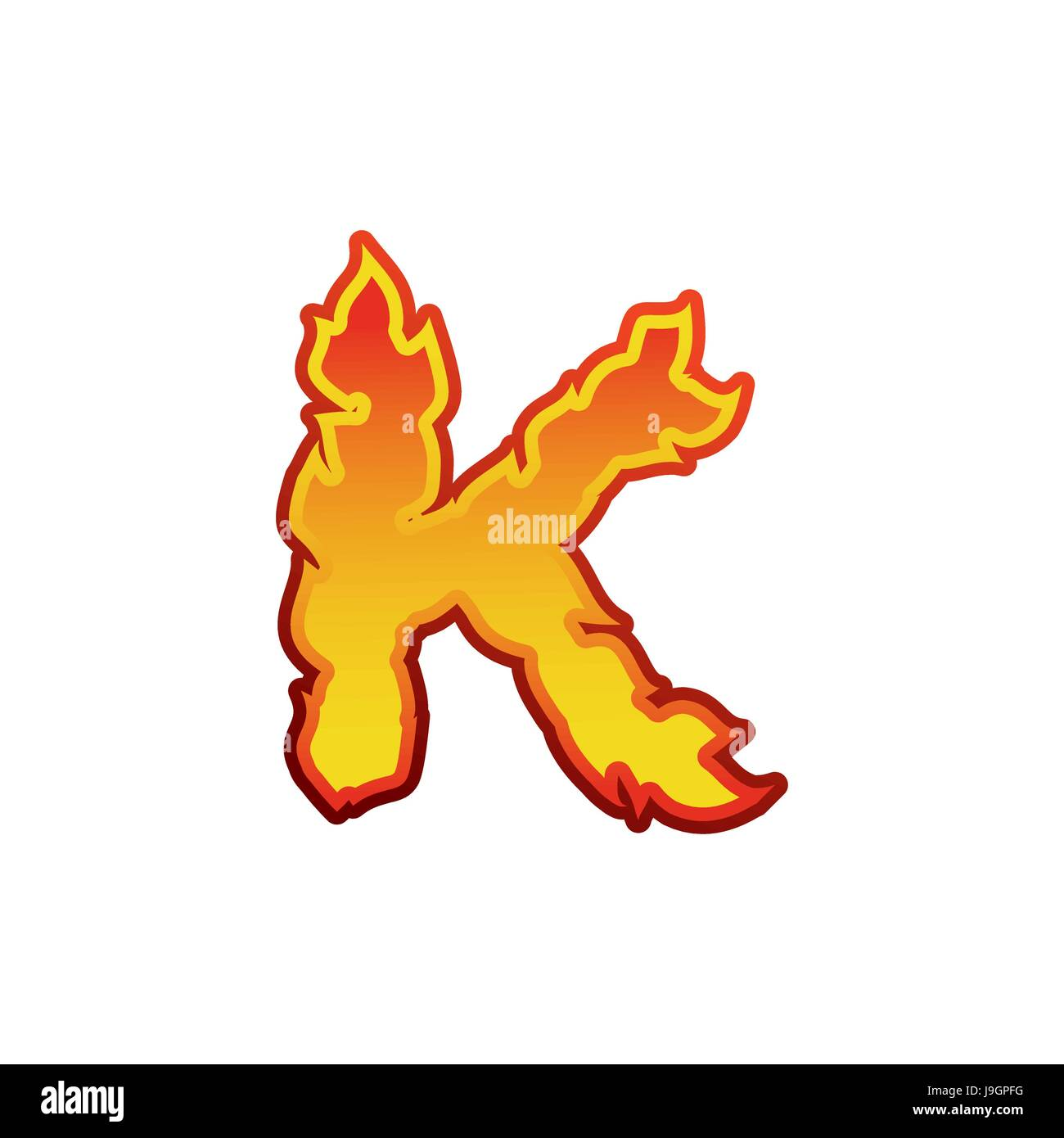 Letter K Fire Flames Font Lettering Tattoo Alphabet Character