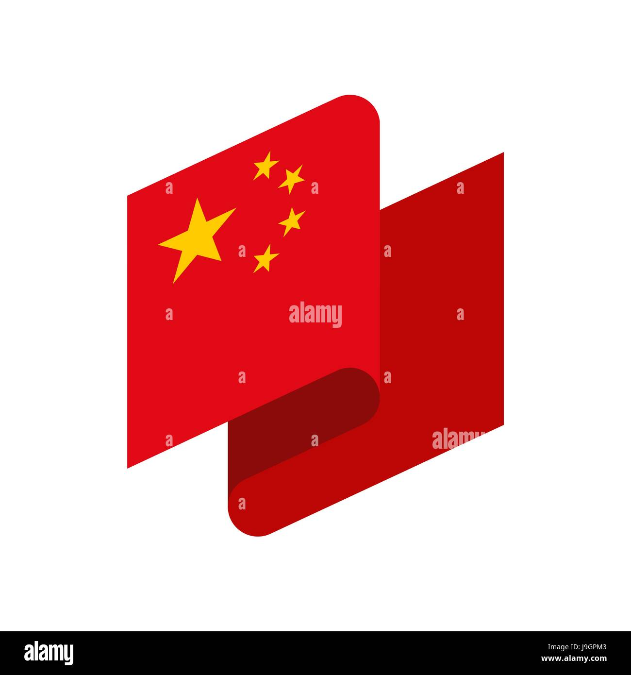 China Flag Ribbon Isolated Chinese Tape Banner State Symbol Stock