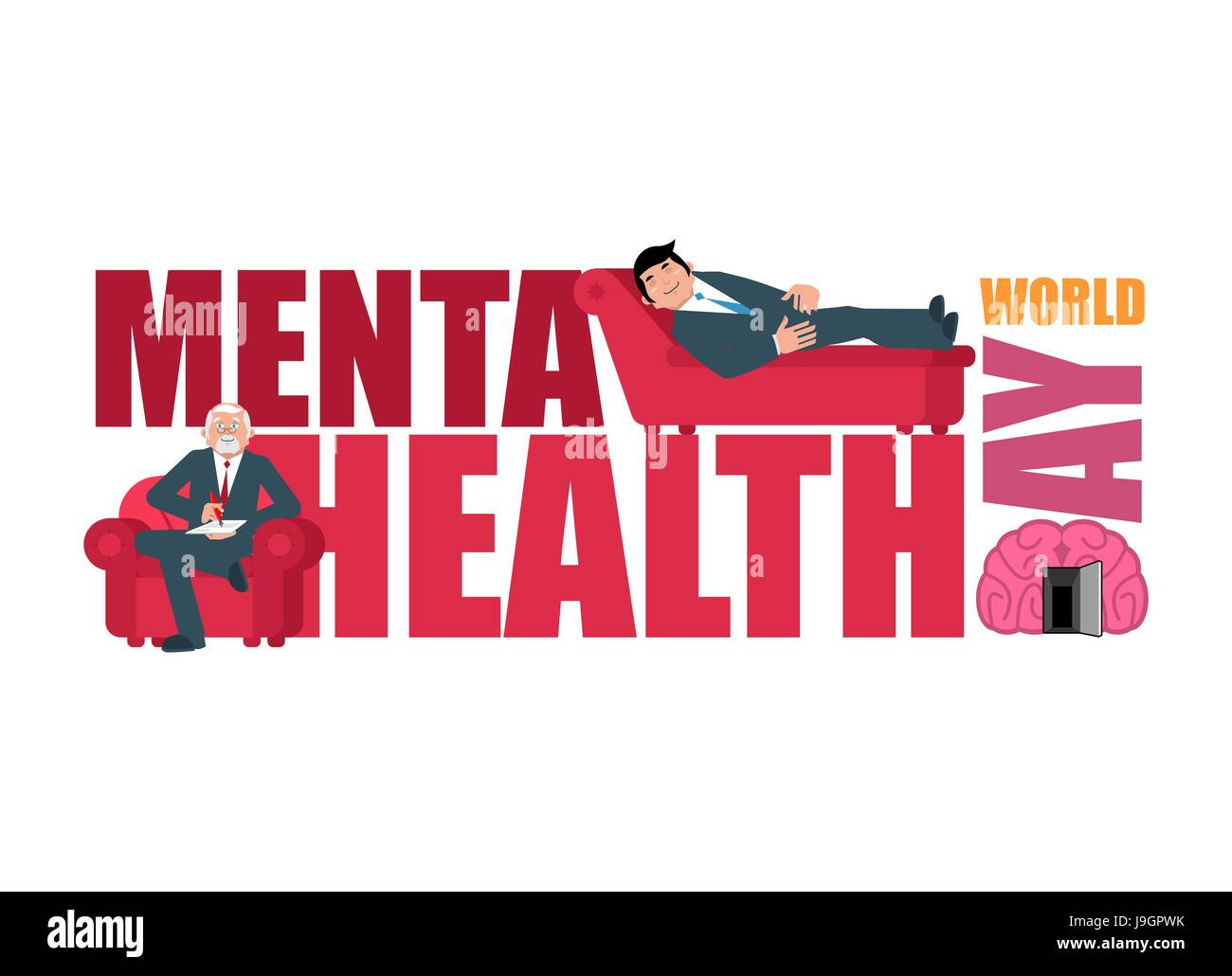 World Mental Health Day. Lettering and psychologist. Consultation of Stock  Vector Image & Art - Alamy