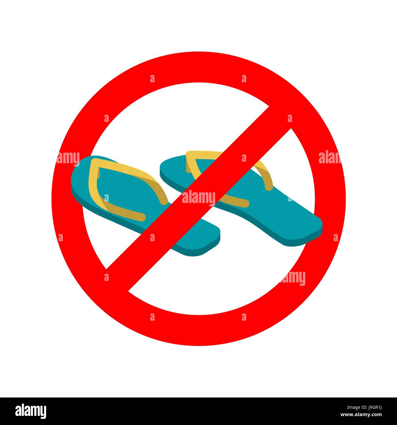 8424873e31452b Stop slippers. Ban summer shoes. Red traffic sign not allowed - Stock Vector