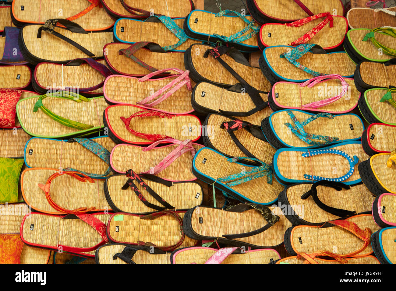 Sandals at Dong Ba Market, Hue, Thua Thien-Hue Province, North Central Coast, Vietnam - Stock Image