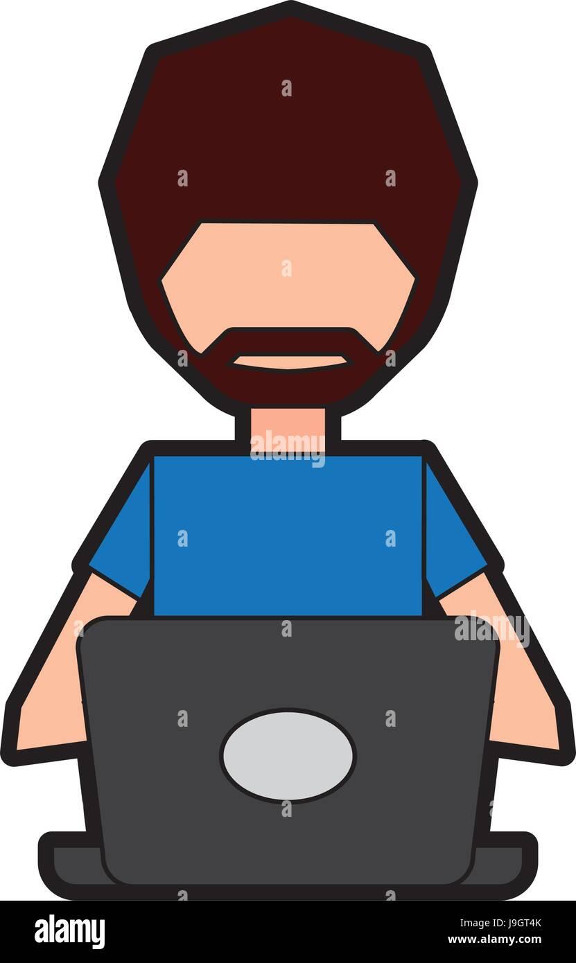 man faceless cartoon Stock Vector