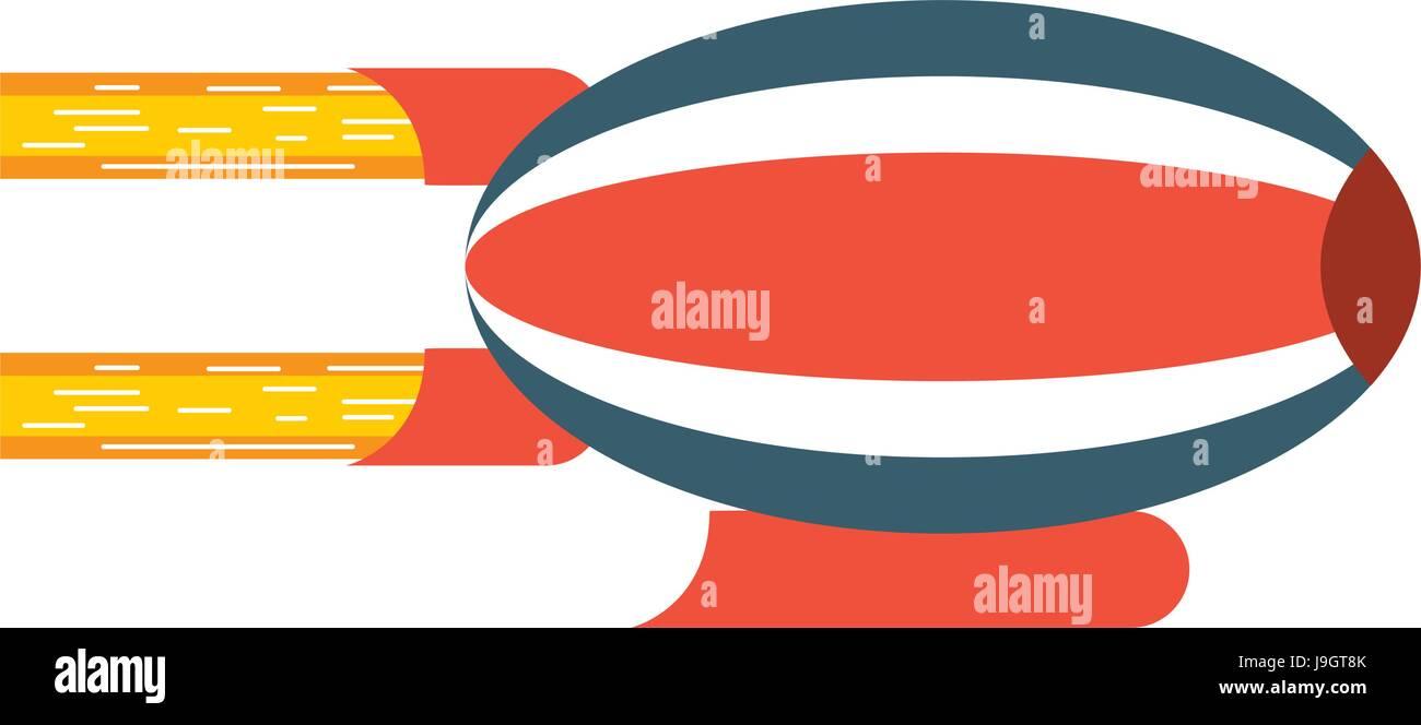 airship blimp cartoon - Stock Image