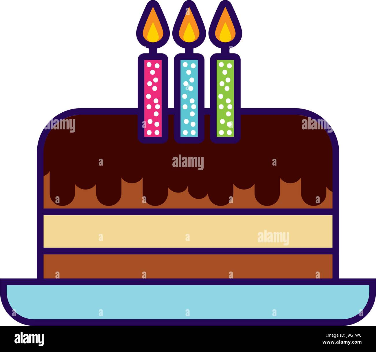 cute birthday cake cartoon Stock Vector Art Illustration Vector