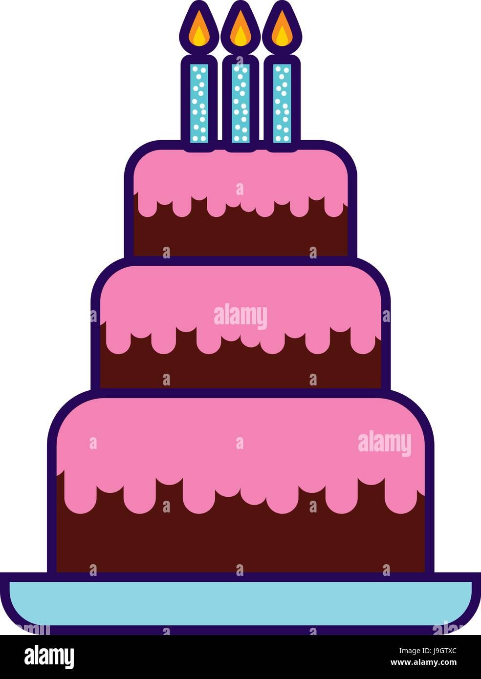 Pleasing Cute Birthday Cake Cartoon Stock Vector Art Illustration Vector Personalised Birthday Cards Veneteletsinfo