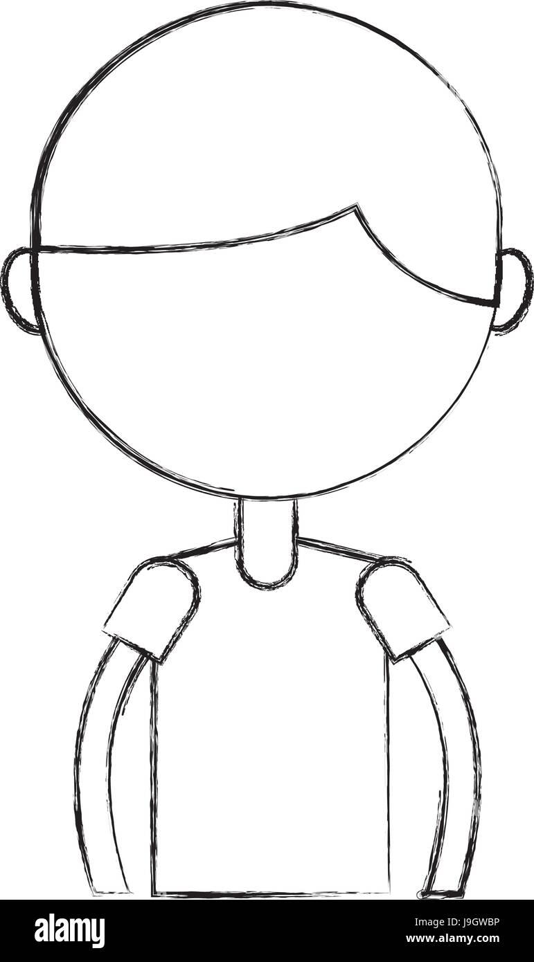 Sketch Draw Upper Body Boy Cartoon Stock Vector Art Illustration