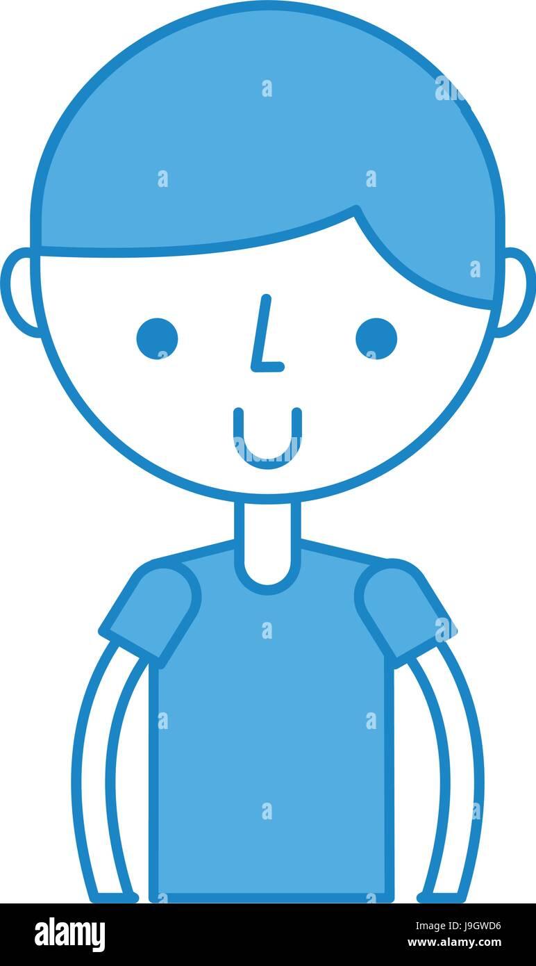 upper body boy cartoon - Stock Image