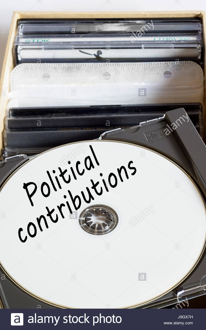 Political contributions, box of computer discs, England, UK - Stock Image