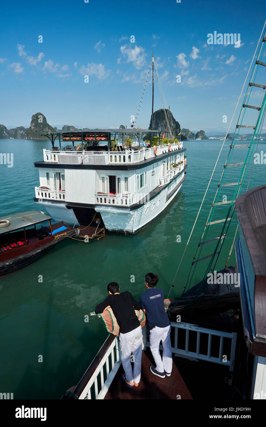Galaxy Premium Tour Boats and limestone karsts, Ha Long Bay (UNESCO World Heritage Site ), Quang Ninh Province, - Stock Image