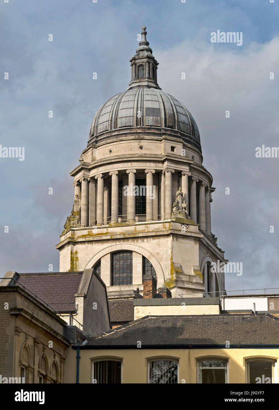 Ornate lead dome roof with ionic columns and cupola on roof of Nottingham Council House building, Nottingham, England, - Stock Image