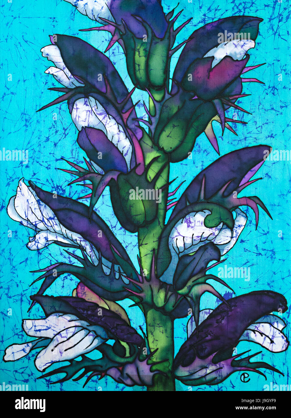 Photograph of silk painting of acanthus flowers using steam fixed photograph of silk painting of acanthus flowers using steam fixed dyes black gutta and wax crackle finish batik style by paula chapman mightylinksfo