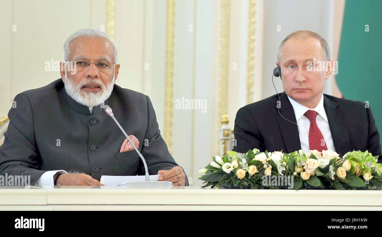 Indian Prime Minister Narendra Modi, left, during a joint press statement with Russian President Vladimir Putin - Stock Image