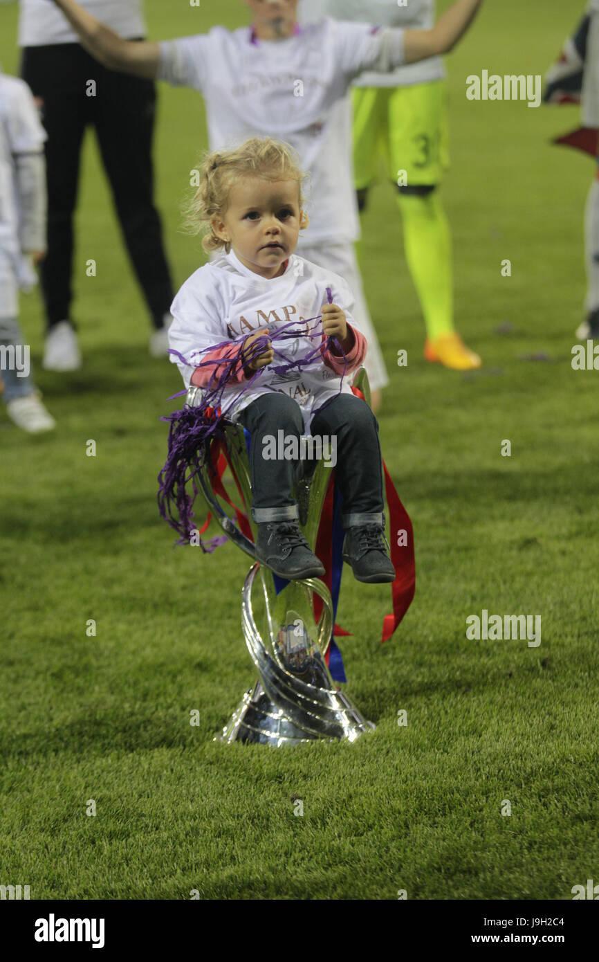 Cardiff, UK. 01st June, 2017. June 1st 2017, Cardiff City Stadium, Wales; UEFA CHampions League Womens Final, Olympique - Stock Image