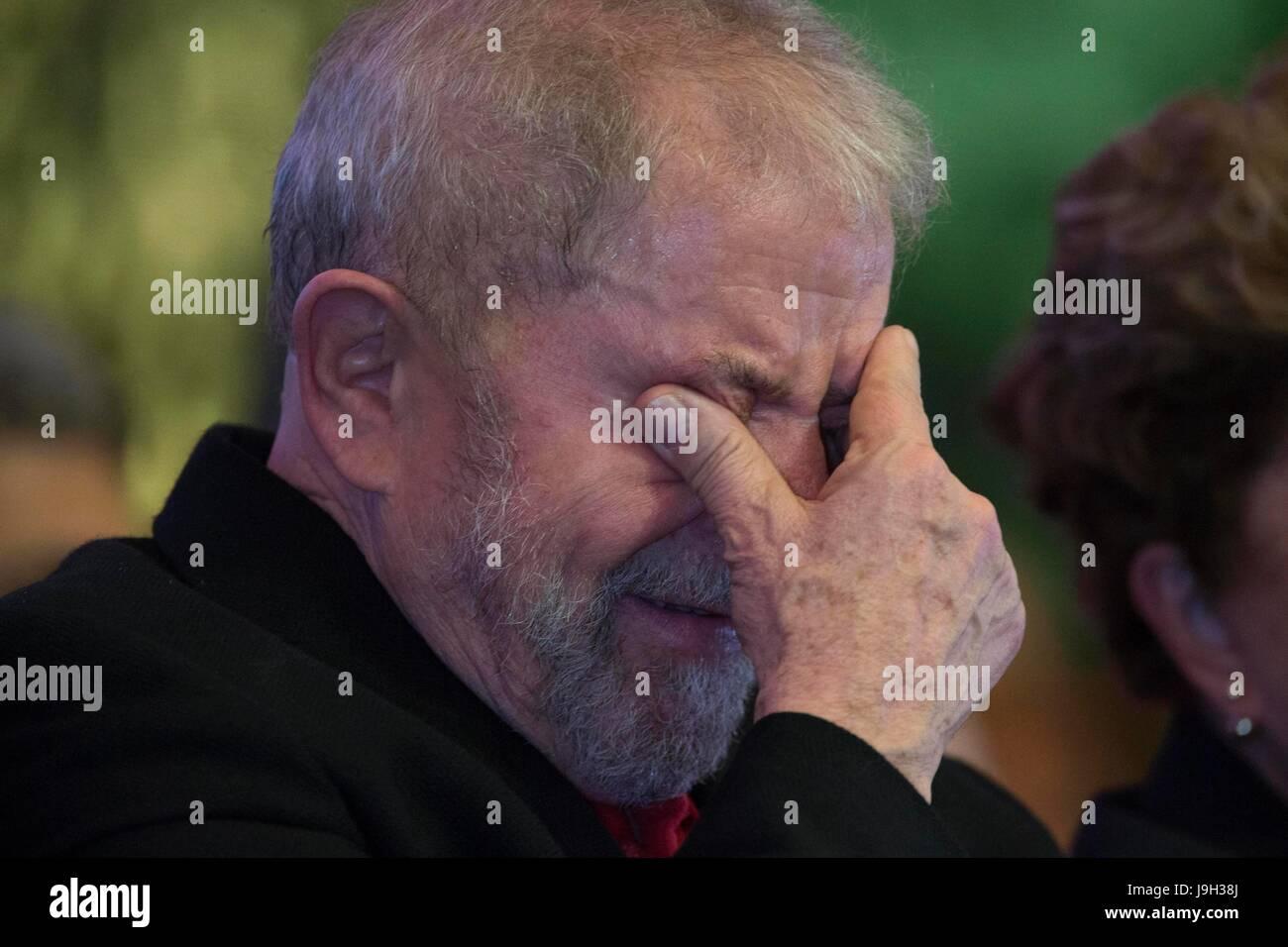 Former Brazilian Presidents Luiz Inacio Lula da Silva participates in the 6th National Congress of the workers' - Stock Image