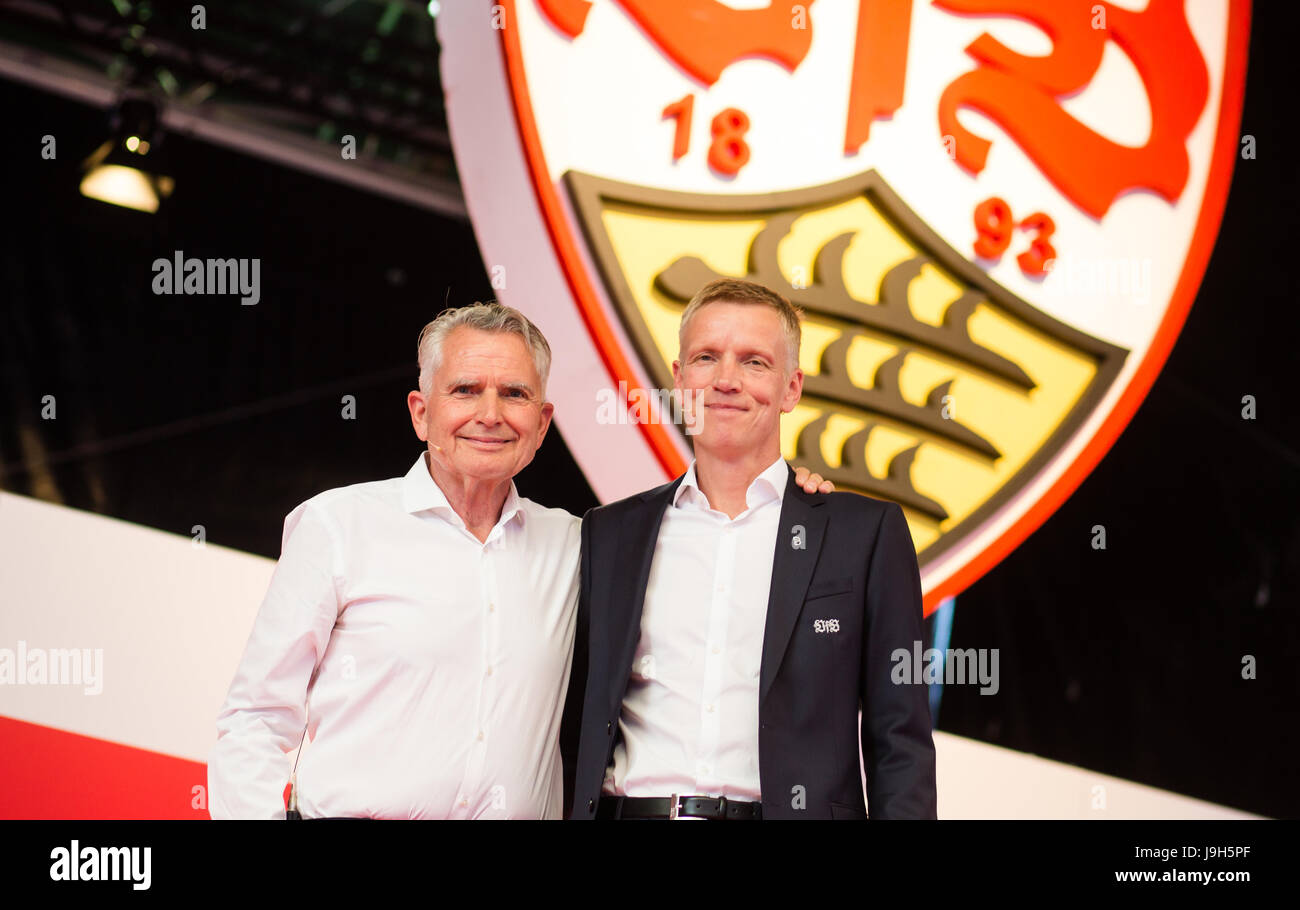 Stuttgart, Germany. 01st June, 2017. VfB-athletic director Jan Schindelmeiser (L) and VfB-president Wolfgang Dietrich - Stock Image